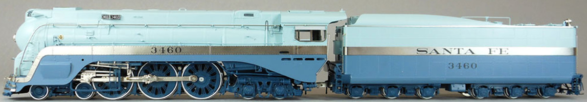 Santa Fe Blue Goose Model Train Engine and Car