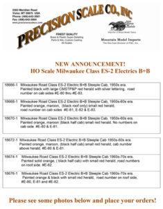HO Scale Milwaukee Class ES-2 Electrics B+B