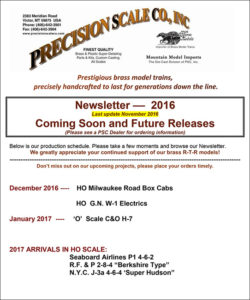 Model Train November 2016 newletter