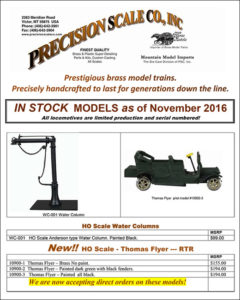 November 2016 Listing of In-stock train models.