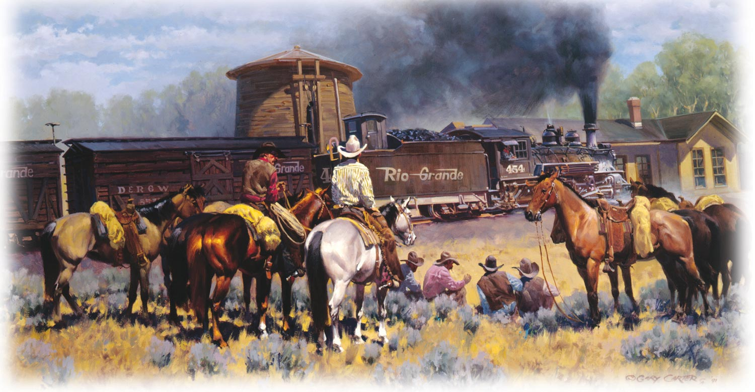 Western Train Painting by Gary Carter